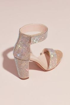 Ankle Straps Heels 82827 Crystal Block-Heel Sandals with Velcro Ankle Strap Satin Shoes, Strappy Shoes, Ankle Strap Heels, Ankle Straps, Shoes Heels, Stiletto Heels, High Heels, Homecoming Shoes, Prom Shoes
