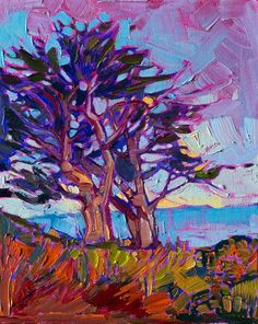 Small oil painting of Monterey cypress tree, by Erin Hanson.