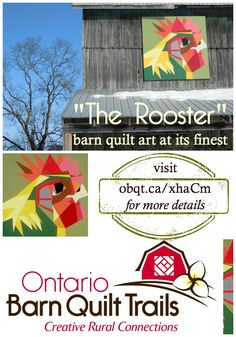The Rooster barn quilt is a beautiful addition to the Prince Edward County Barn Quilt Trail. Barn Quilt Designs, Barn Quilt Patterns, Quilting Designs, Amish Barns, Old Barns, Chicken Barn, Chicken Houses, Small Quilted Gifts, Cool Wood Projects