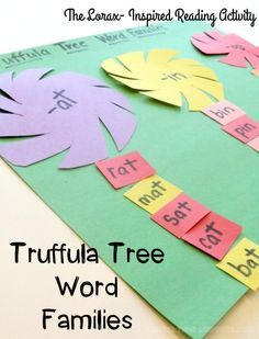 Seuss Inspired Truffula Tree Word Families To practice sorting through word families and differenciating between letters and words, set up a reading activity inspired by Dr. Seuss's The Lorax. Dr. Seuss, Dr Seuss Week, Dr Seuss Lorax, Kindergarten Literacy, Literacy Activities, Summer Activities, Word Family Activities, Indoor Activities, Dr Seuss Activities Preschool