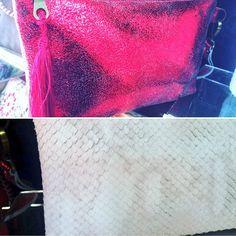 Bolso de piel , modelo escamas de serpiente y modelo rojo desgaste , diseño exclusivo