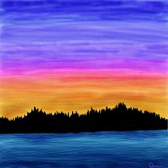 Original Landscape Painting River Sunset Fine Art On Canvas By Henry Parsinia 48x24