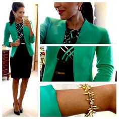 JCP top, H&M blazer, Express pencil, Apt 9 gold tone square hoop earrings via Ko… - business professional outfits for interview Business Outfits, Business Fashion, Business Attire, Business Casual, Business Formal, Green Business, Hello Gorgeous Blog, Professional Attire, Business Professional