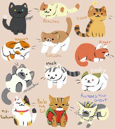 "saltytabbycat: "" I got bored. So I drew some of my favorite kitties from Neko Atsume. :D """