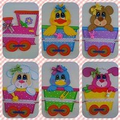 Decorado_Tren_Animalitos_BaBy Shower I Foam Sheet Crafts, Foam Crafts, Diy And Crafts, Crafts For Kids, Baby Door Hangers, Foam Sheets, Pet Rocks, Art N Craft, Preschool Classroom