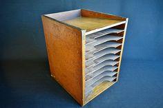 Antique Desk Organizer  Retro Tiered Office Filing Box in Oak