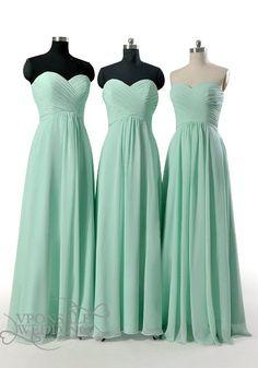 Strapless Sweetheart Long Mint Bridesmaid Dresses DVW0116 | VPonsale Wedding Custom Dresses
