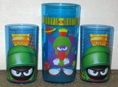 Marvin the Martian Plastic Tumbler Lot Drinking Glass Blue Cup 1997 Looney Tunes $7.50