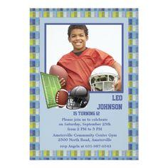 Photo Card Birthday Invitation Football Mania Photo Invitation