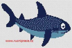 Shark, free cross stitch patterns and charts - www.free-cross-stitch.rucniprace.cz