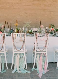 Mint + Pink Bottom ribbon attached wedding chair, styled by Canvas and Canopy Events, photo by Elizabeth Messina