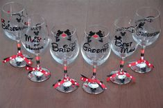 Disney Bridal set of 8 wine glasses. Bride, Groom, Best Man, Maid of Honor, Bridesmaid, and Groomsman.  Entire set for your wedding party. Www.Etsy.com/shop/GameDayCheers