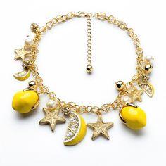 2014 za желтый лимон кристалл жемчуг золотая цепь чокеры себе коренастый ожерелья и подвески аксессуары женская ювелирных изделий купить на AliExpress