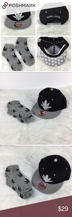 𝘔𝘢𝘳𝘪𝘫𝘶𝘢𝘯𝘢 Pot Leaf Cannabis Hat   Socks New without Tags  1c930c2e9bed