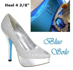 """""""Something Blue"""" ... painted shoe sole & names/date print"""
