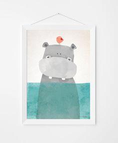 Poster print Wandkunst. Illustration-Kunst mit niedlichen Nilpferd. Kinder und Kindergarten Wandkunst zum sofortigen Download. In 3 Größen erhältlich.