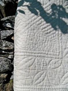 Beautiful White wholecloth Welsh quilt from Swansea Q10 - Wholecloth Hand sewn Welsh Quilts  from the Jane Beck Site.