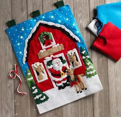 ALL NEW 2018 Bucilla Wall Hanging featuring a cute scene with Santa and his Reindeer on the farm. This wall hanging does light up. Available March 2018 and for pre-order on February 8th from MerryStockings.