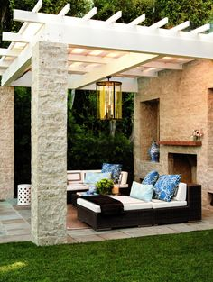 Outdoor living - - Dedon furnishings from Janus et Cie sit under the pergola. Terrace Furniture, Home, House With Porch, Outdoor Rooms, Dream Backyard, Modern Porch, Porch Design, Pergola Designs, Outdoor Design