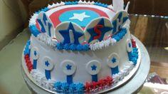 American captain theme cake Themed Cakes, Birthday Cake, American, Desserts, Food, Theme Cakes, Tailgate Desserts, Birthday Cakes, Meal