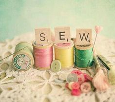 """""""SEW""""- spools of thread, buttons"""