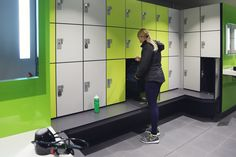 Lockers for Leisure - changing room furniture designed, manufactured and installed by Craftsman Lockers Sports Locker, Gym Lockers, Room Furniture Design, Changing Room, Vanity Units, Bench Seat, Bespoke, Craftsman, Rooms