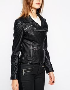 Karen Millen Leather Jacket with Silver Zip Sleeves
