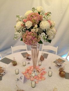 blush and cream centerpiece with hydrangea and petals by Furst #FurstEvents
