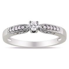 Miadora Sterling Silver 1/6ct TDW Round Diamond Ring