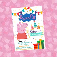 Peppa Pig Invitation, Peppa Pig Birthday Invitation, Peppa Pig Party Invite, Peppa Pig Party, Peppa Pig Printables, Free Thank You Card Hello & welcome to our shop :-) ▬▬▬▬▬▬▬▬▬►►►ABOUT THIS LISTING◄◄◄▬▬▬▬▬▬▬▬▬ This listing is for a personalised party invitation with your own