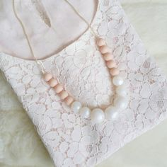 Pearl Blush Silicone Teething Necklace by LouLouLollipopFinery