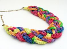 rainbow colored knitted braided necklace