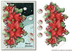 Christmas Poinsettias  Quick Card on Craftsuprint designed by Marijke Kok…