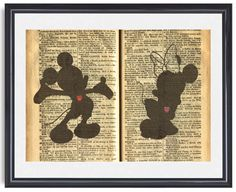 Mickey and Minnie Mouse Silhouette: 5 X 7 Art by WITHHEARTSTUDIOS