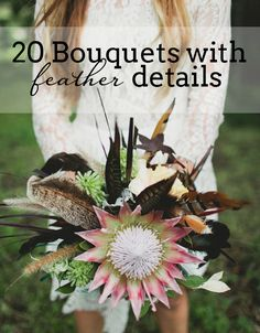 20 Wedding Bouquets with Feather Details | SouthBound Bride www.southboundbride.com Credit: Luke Going Photography