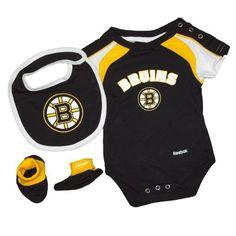 Boston Bruins Baby 3-pc Creeper-Bib-Bootie Set Size 6-9 Months by Reebok.   30.00 f4beef35f