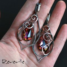Flame OOAK wire wrapped earrings by HandmadeByReverie on Etsy, $130.00