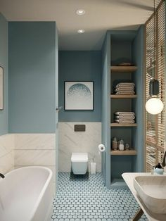 While not many can pull off a small bathroom makeover on a budget, our 11 small bathroom remodel ideas will make sure you redesign yours just the way you planned. Bathroom Design Small, Bathroom Colors, Bathroom Interior Design, Modern Bathroom, Serene Bathroom, Interior Livingroom, Bath Design, Colors For Small Bathroom, Kitchen Design