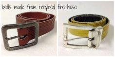 Belts Made from Recycled Fire Hose -- gift ideas for Firefighter Training, Firefighter Gear, Volunteer Firefighter, Firefighters Wife, Firemen, Fire Hose Projects, Fire Hose Crafts, Volunteer Gifts, Volunteer Appreciation