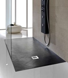JT Softstone Aqua cushion floor 800 x 800 shower tray in black