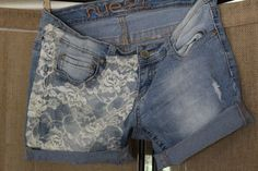SHORTS! Women's Rue 21 5/6 curvy cut off jean with added lace to pockets  #rue21 #cutoff