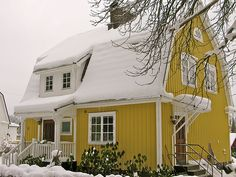 Please no comments with distracting graphics or photos - they will be deleted. Swedish Cottage, Yellow Cottage, Swedish House, Cottage Style, Timber Front Door, Dutch Colonial Homes, White Shutters, Gambrel Roof, Charming House