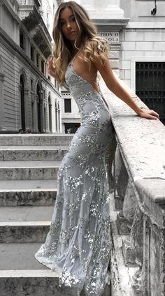Sexy Silber Abendkleider Lang Günstig Sequins Spitze Abendmoden Abiballkleider Günstig #eveningdresses