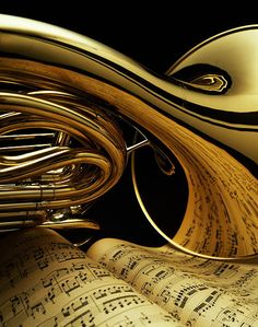 French Horn And Sheet Music Detail Metal Print by Eric Myer Piano Music, Sheet Music, Horn Instruments, Mellophone, Brass Instrument, Music Collage, Christian Artwork, Band Nerd, French Horn