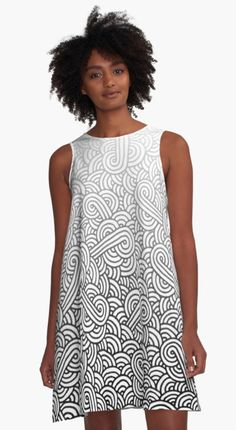 Gradient black and white swirls doodles A-Line Dress by @savousepate on @redbubble #pattern #abstract #modern #graphic #geometric #boho #ombre #blackandwhite #grey #gray #alinedress #dress #fashion #clothing #apparel