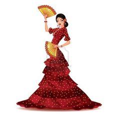 Bailarina de Flamenco Española con abanicos.