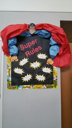 Superhero library decorations