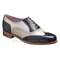 a622d4c030d157 Barker Ladies Shoes – Freya – Navy Calf & Beige Calf – Brogue -http
