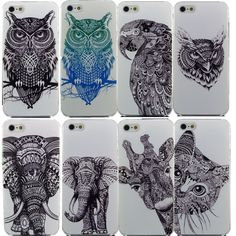 Vtg Style Head Case Aztec Elephant Giraffe Animal Hand Drawn Animal Back Case Cover For iPhone 4 4s 5 5s