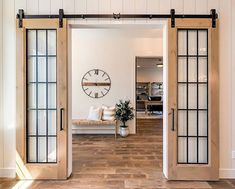 Double french doors are eye catching. There are so many different places to put double french doors. Check out a few of our favorite areas to put a double french door. Double Sliding Barn Doors, Kitchen Sliding Doors, Laundry Doors, Garage Doors, Interior Barn Doors, Farmhouse Interior Doors, Farmhouse Door, Farmhouse Style, Door Design
